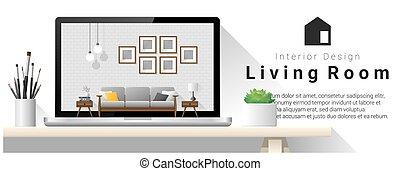 Modern living room interior design background 7 - Modern...