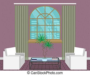 Modern living room interior design. Light loft with sofas, window, glass table and houseplant.