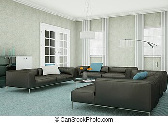 Modern living room interior design with black leather sofas