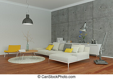 modern living room interior design with concrete wall