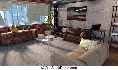 Modern living room interior in loft apartment 3D