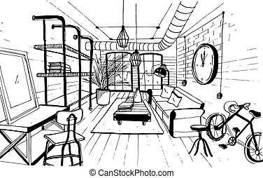 Modern living room interior in loft style. Hand drawn sketch illustration.
