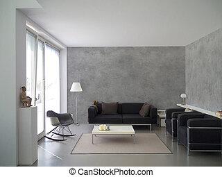 modern living room interior - modern living room with ...