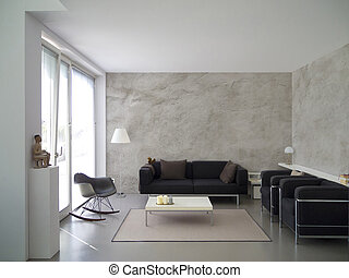 modern living room interior - modern living room with rough ...