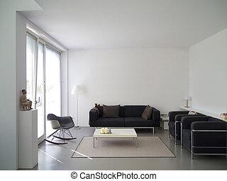 modern living room interior - modern private living room...