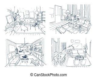 Modern living room interior set. Furnished drawing room collection. Contour vector illustration sketch on light background.