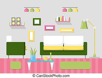 Modern Living Room Interior With Sofa, Book Shelves And Lamps. Room Design  With Furniture