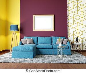 Modern living room on the cover. Blue corner sofa
