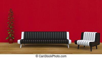 Modern Living Room Red