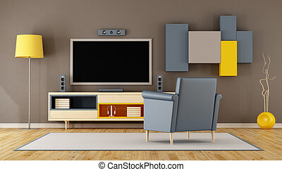 Modern living room room with TV