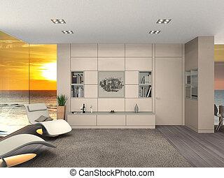 modern living room, sea and sunset
