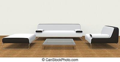 Modern Living Room Set White