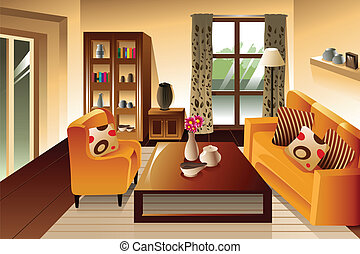 Modern living room space - A vector illustration of modern...