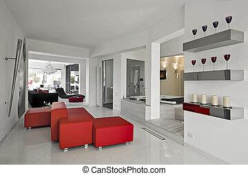 modern living room - red sofa in the modern living room