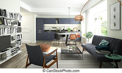Modern living room with an open kitchen
