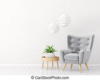 interior - modern living room with armchair. scandinavian...