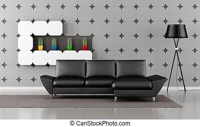 Modern living room with black sofa and gypsum panel on wall...