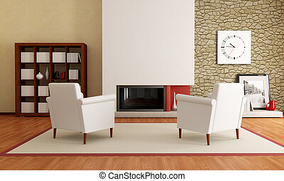 modern living room with fireplace - two white armchair in...