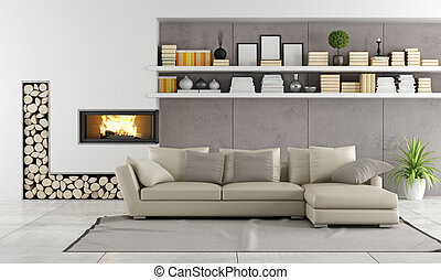 Modern living room with fireplace,sofa and shelves with...