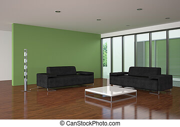 modern living room with green wall