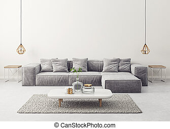 interior - modern living room with grey sofa and lamp. ...
