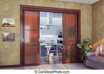 Modern Living Room With Large Door