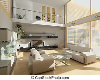 Modern living room with large windows.