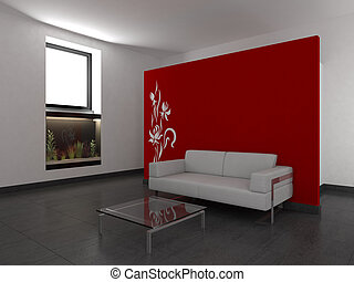 modern living room with red wall