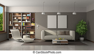 Modern living room with sofa ,chaise lounge and bookcase on background - 3d rendering