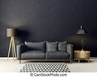 interior - modern living room with sofa and lamp....