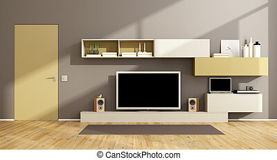 Modern living room with tv set