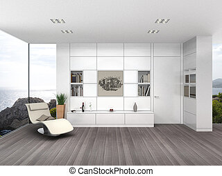 modern living room with white wall boarding