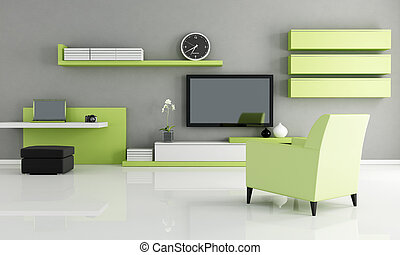 modern living room with work space and tv - rendering