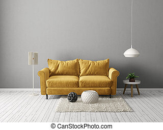 interior - modern living room with yellow sofa and lamp....