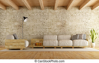 Modern living room wth pallet sofa - Modern living room with...