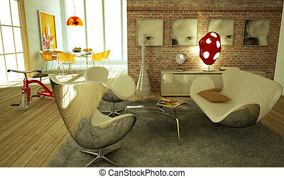 Modern livingroom, warm atmosphere, very stylish, with wooden floor and a re tricicle on a side.