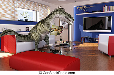 Modern livingroom with a theropod dinosaur, sitting on the sofa, reading a dinosaurs book. 3 D digital rendering.