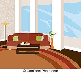Modern Loft - A stylish livingroom with modern furnishings...