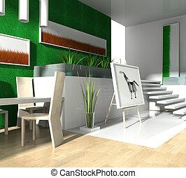 Modern loft - Modern interior of a loft 3d image