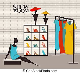 Modern loft interior showroom fashion - Vector illustration...