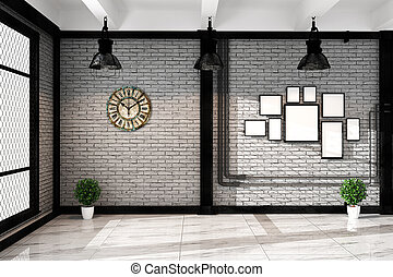 Modern loft living room with frame lamp and plnts, empty white brick wall - granite floor, Mock up interior. 3D rendering