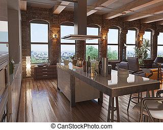 Modern Loft - Modern with an open kitchen