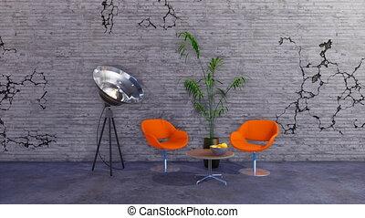 Modern loft style grunge minimalist interior 3D - Modern...