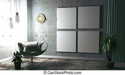 Modern Loft Style Interior Design. 3D Rendering