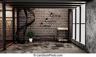 Modern loft style living interior design. 3d rendering
