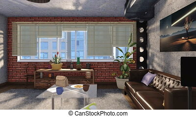 Modern loft style living room interior design 3D -...