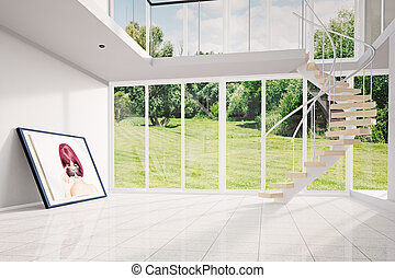 Modern loft with image moving out - Modern loft with image...