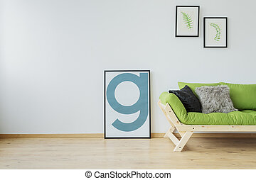Modern loft with mock-up poster