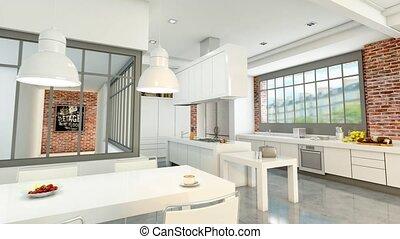 3D animation of a modern urban loft with an open plan kitchen
