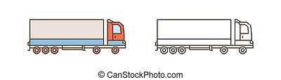 Modern logistics truck, lorry icon. Commercial vehicle with diesel engine. Automobile shipping, delivery. Cargo transportation. Flat vector line art illustration isolated on white background